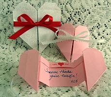 origami heart pull apart valentine card