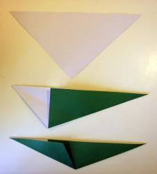 Origami iris leaf steps1-4