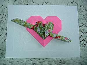Origami valentine card with a double heart