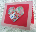 Origami valentine card with secret message