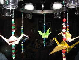 origami cranes on chandelier